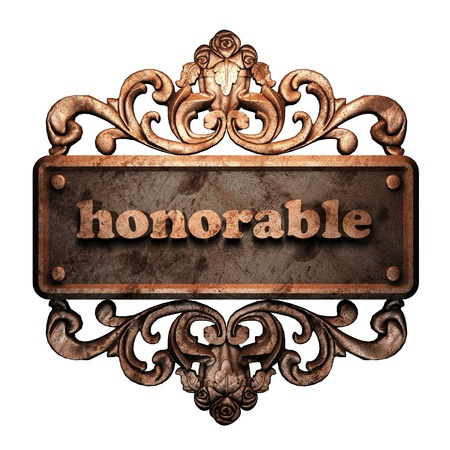 honorable: Word on bronze ornament