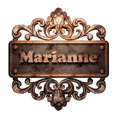 marianne: Word on bronze ornament