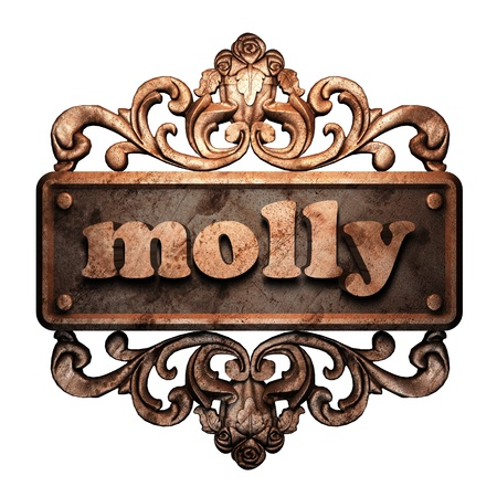 molly: Word on bronze ornament