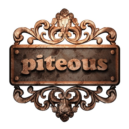 piteous: Word on bronze ornament
