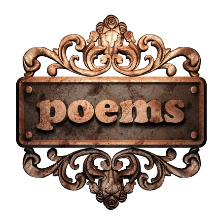 poems: Word on bronze ornament