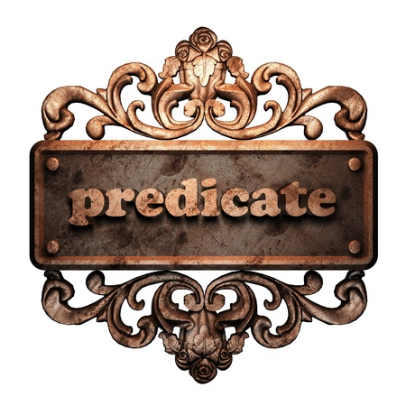 predicate: Word on bronze ornament