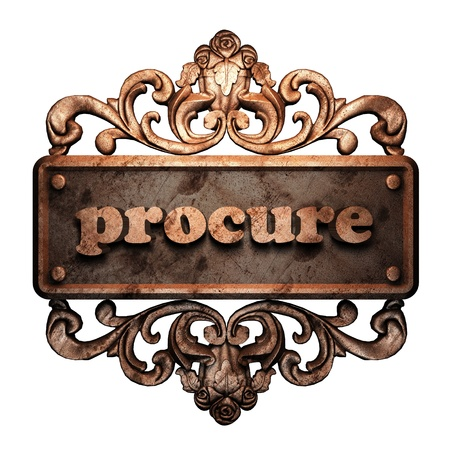 procure: Word on bronze ornament