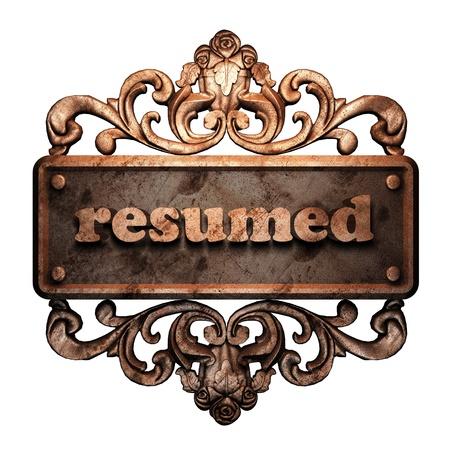 resumed: Word on bronze ornament
