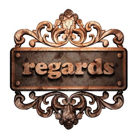 regards: Word on bronze ornament
