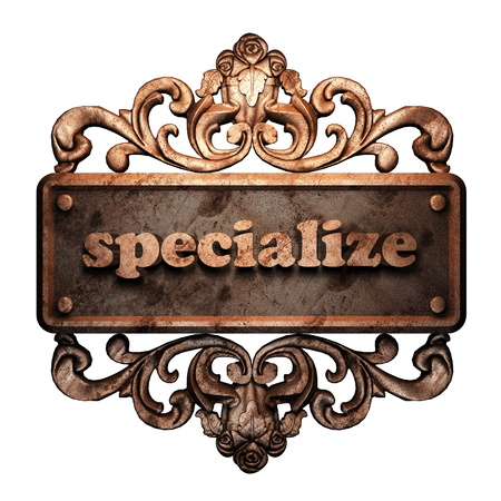 specialize: Word on bronze ornament