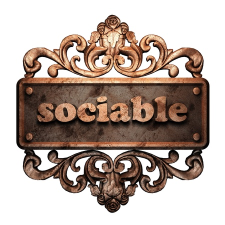sociable: Word on bronze ornament
