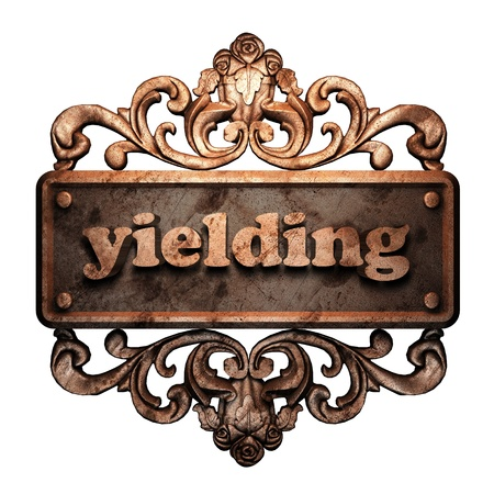 yielding: Word on bronze ornament