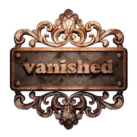 vanished: Word on bronze ornament
