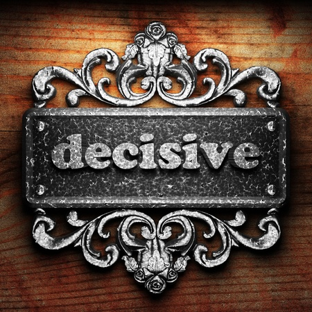 decisive: Silver word on ornament