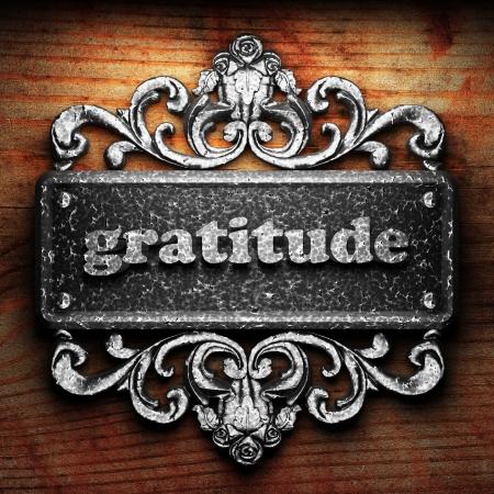 gratitudine: Parola argento su ornamento Archivio Fotografico