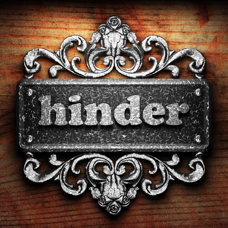 hinder: Silver word on ornament