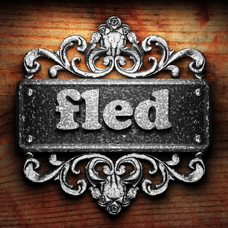 fled: Silver word on ornament