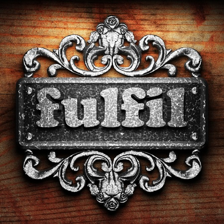 fulfil: Silver word on ornament