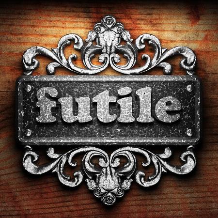 futile: Silver word on ornament