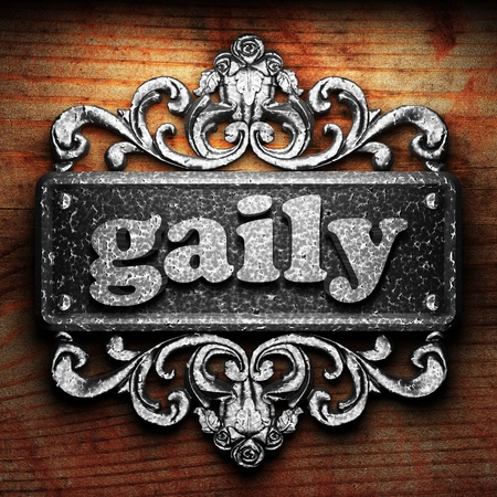gaily: Silver word on ornament