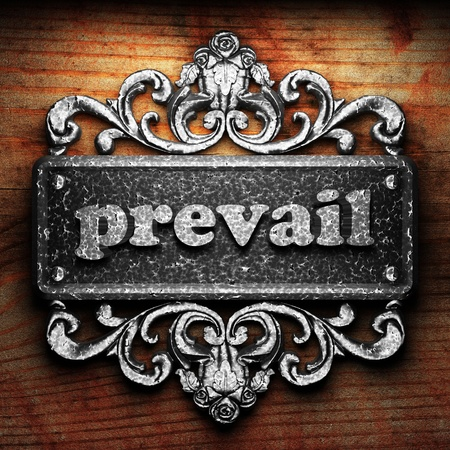 prevail: Silver word on ornament