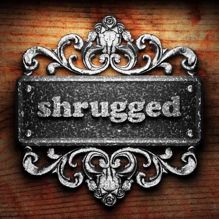shrugged: Silver word on ornament