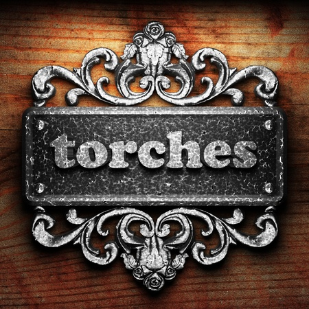 torches: Silver word on ornament