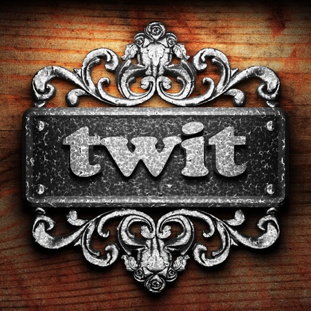 twit: Silver word on ornament