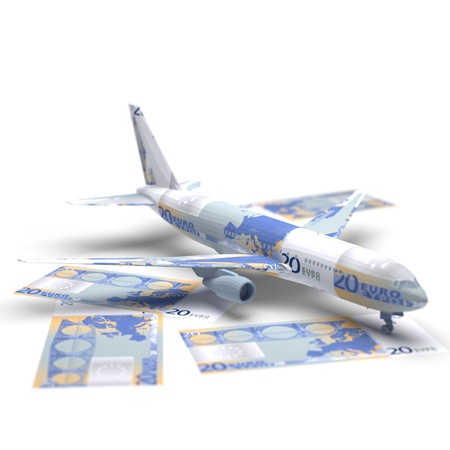 make an investment: airplane money origami made in 3D Stock Photo
