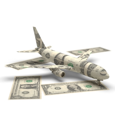airplane money origami made in 3D Stock Photo