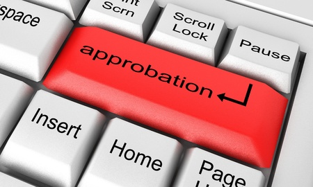 approbation: Word on keyboard made in 3D