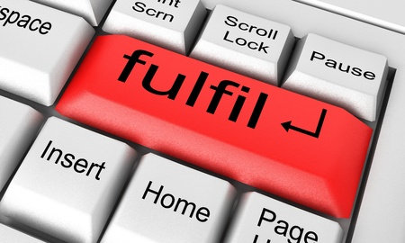 fulfil: Word on keyboard made in 3D