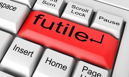 futile: Word on keyboard made in 3D