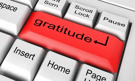 gratitude: Word on keyboard made in 3D