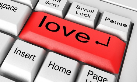 carta de amor: Palabra en el teclado hecho en 3D Foto de archivo