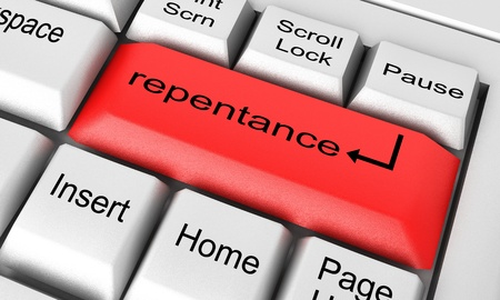 repentance: Word on keyboard made in 3D