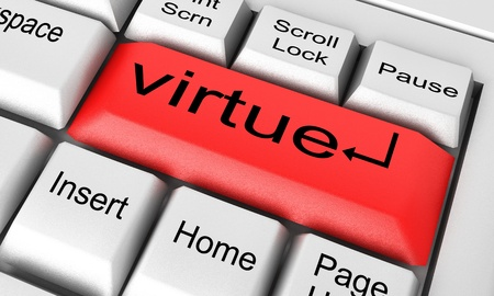 virtue: Word on keyboard made in 3D
