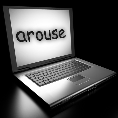 arouse: Word on laptop made in 3D