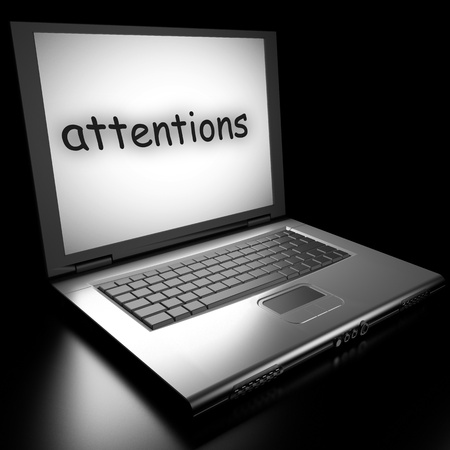 attentions: Word on laptop made in 3D