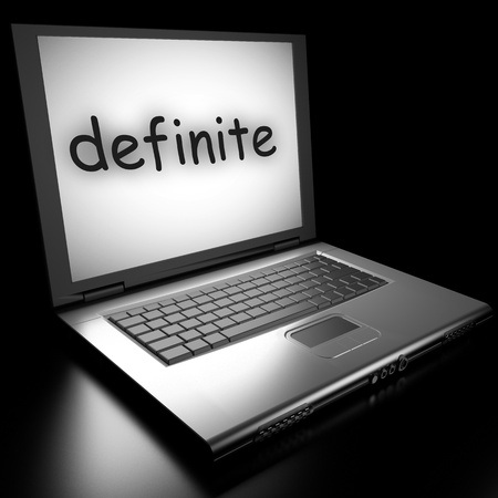 definite: Word on laptop made in 3D