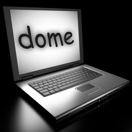 dome type: Word on laptop made in 3D