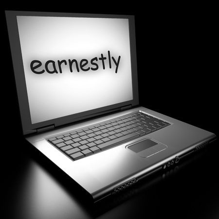 earnestly: Word on laptop made in 3D