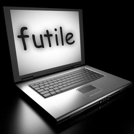 futile: Word on laptop made in 3D