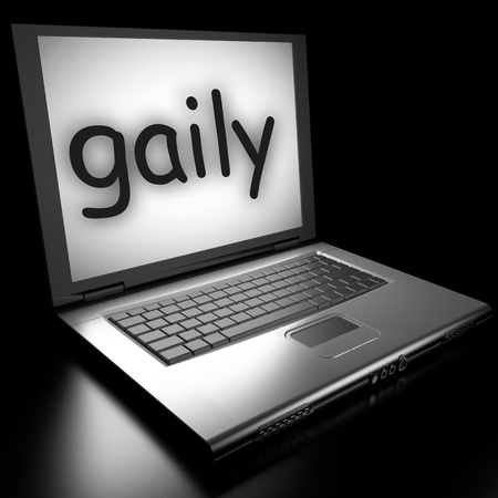 gaily: Word on laptop made in 3D