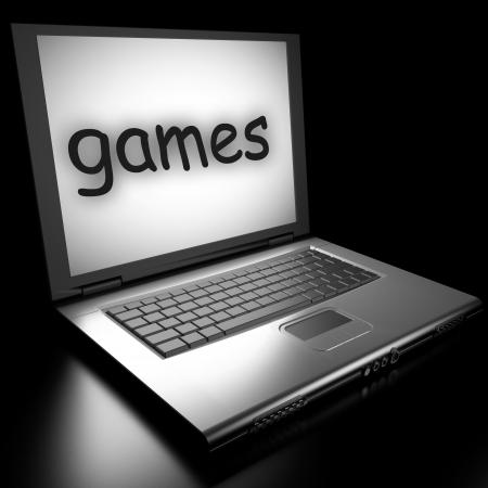 Word auf Laptop in 3D gemacht Standard-Bild