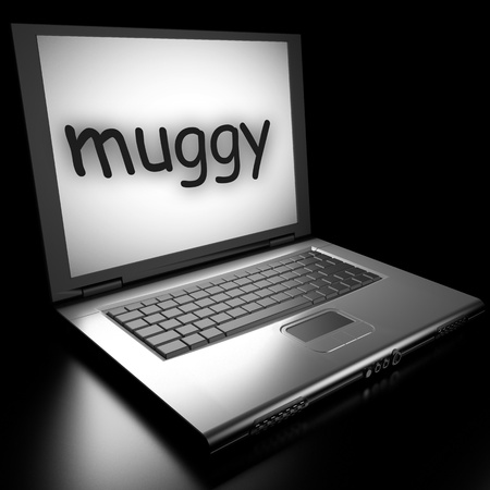 muggy: Word on laptop made in 3D