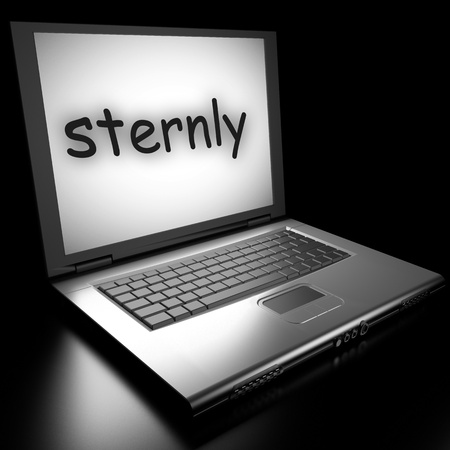 sternly: Word on laptop made in 3D