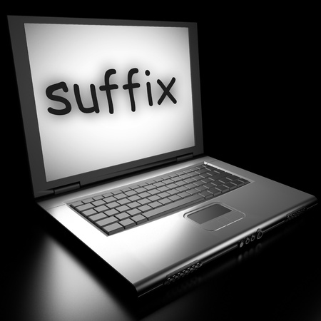 suffix: Word on laptop made in 3D