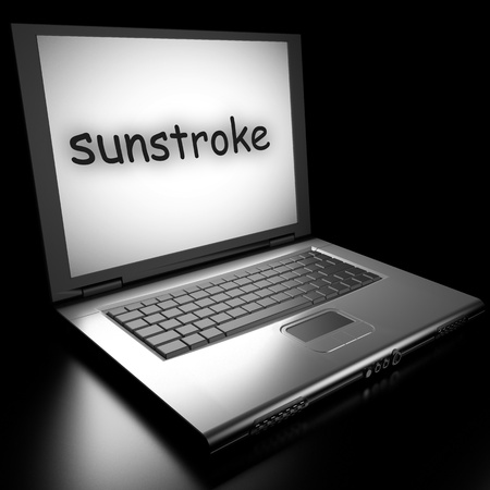 sunstroke: Word on laptop made in 3D