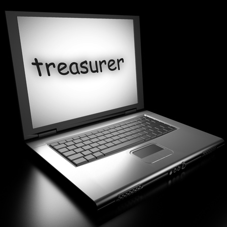 treasurer: Word on laptop made in 3D