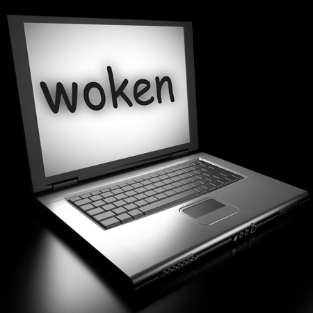 woken: Word on laptop made in 3D
