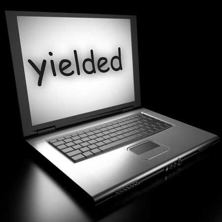 yielded: Word on laptop made in 3D