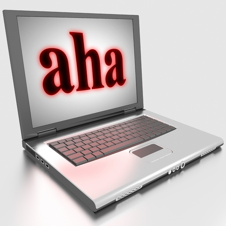 aha: Word on laptop made in 3D
