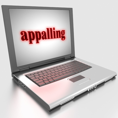 appalling: Word on laptop made in 3D
